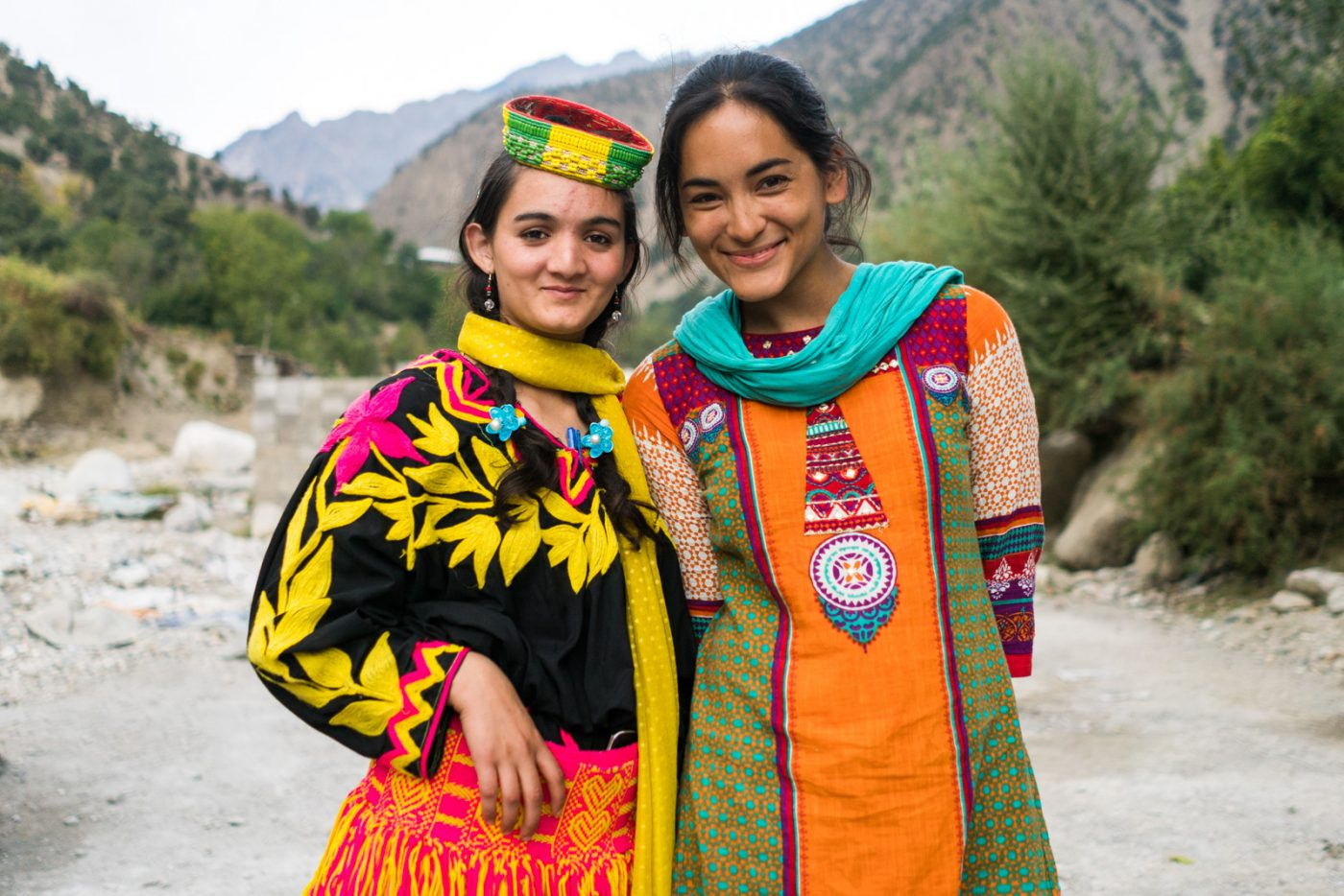 A colorful combination with one of the Kalashi girls